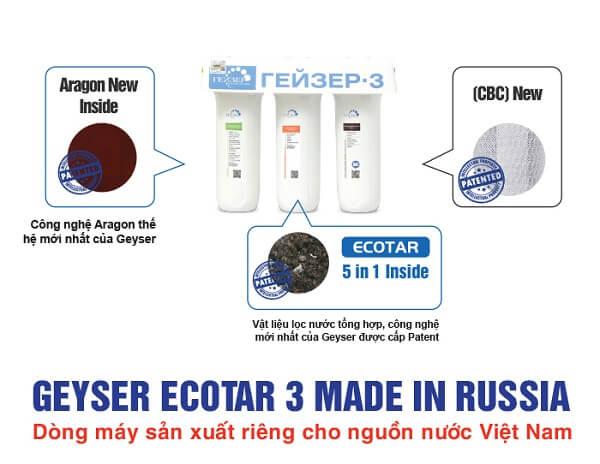 Dòng máy Geyser Ecotar3 được dành riêng cho nguồn nước Việt Nam