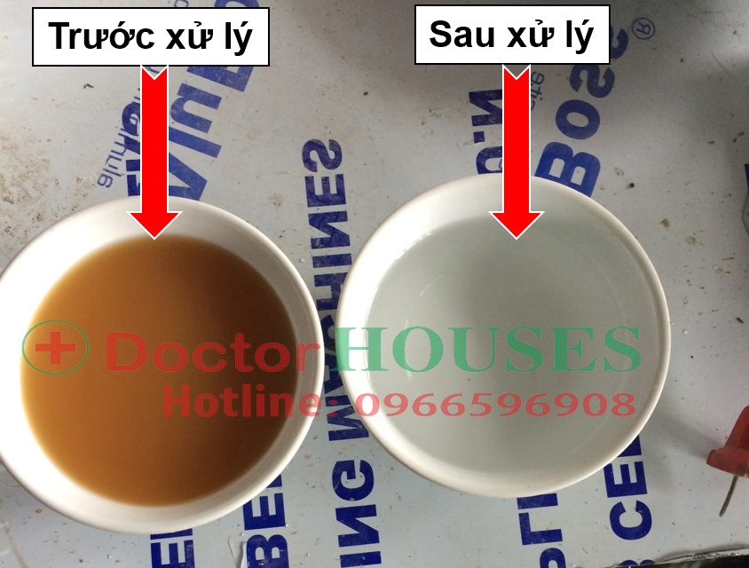 Hình ảnh trước và sau khi xử lý nước giếng khoan