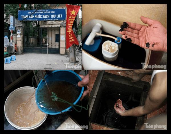 Nước ô nhiễm nhiều cặn đen, nổi váng tại thông Tựu Liệt, Hà Nội