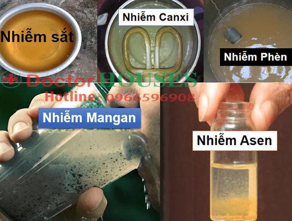 Nước có mùi lạ và nhiễm các kim loại nặng, Fe, Ca, Mn, Asen..