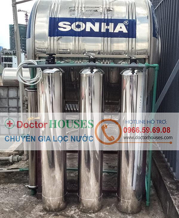 Hình ảnh thực tế: lắp đặt hệ thống lọc nước giếng khoan DHGK-03CUF tại Nhà Chị Nguyệt