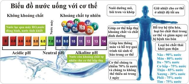 Nước ion kiềm khôi phục sự cân bằng pH trong cơ thể