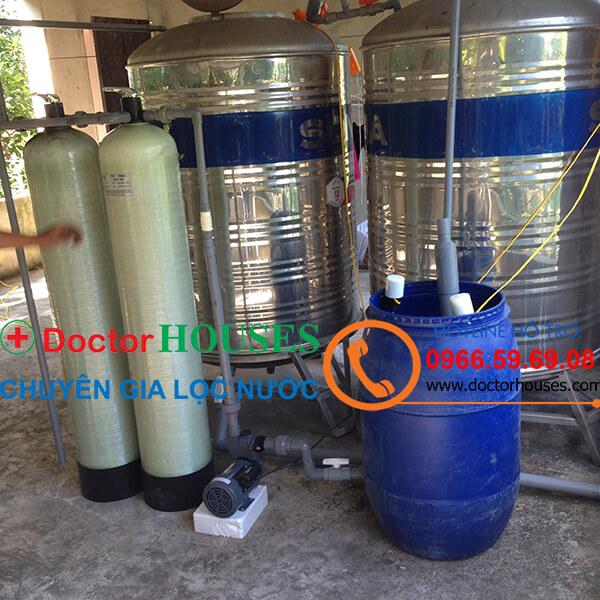 Công trình xử lý nước giếng khoan có mùi tanh, nhiễm sắt phèn, Mangan, tại Linh Đàm, Đại Kim, Hà Nội