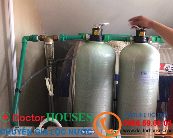 Công trình xử lý nước giếng khoan nhiễm sắt, canxi tại Thành Phố Hà Giang