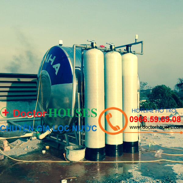 Công trình lắp đặt bộ lọc nước giếng khoan xử lý nước nhiễm Canxi, Asen, Sắt, Mangan tại Nhà Chị Quyên, Gia Lâm, Hà Nội