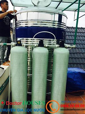 Công trình xử lý nước giếng khoan nhiễm sắt, mangan, canxi tại Thường Tín, Hà Nội