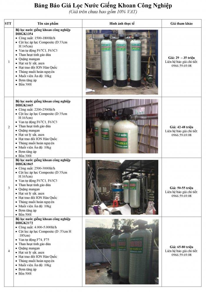 Báo giá lọc nước giếng khoan công nghiệp công suất lớn