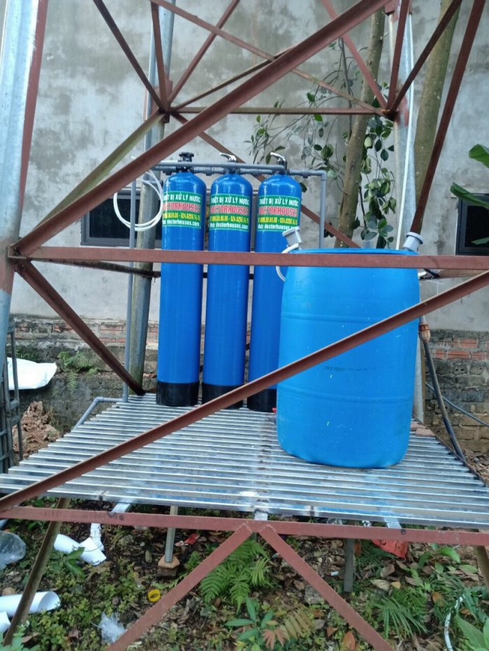 Lắp đặt hệ lọc tổng DHGK03 xử lý nước giếng khoan nhiễm sắt tại Phú Thọ
